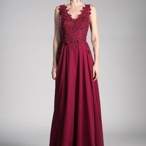 V-Neckline A-Line Shape Evening Dress CD9177